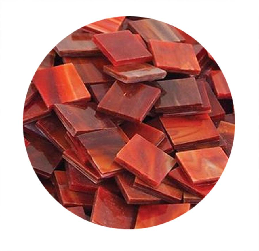 Red Opaque Stained Glass Chips - 48 Pieces