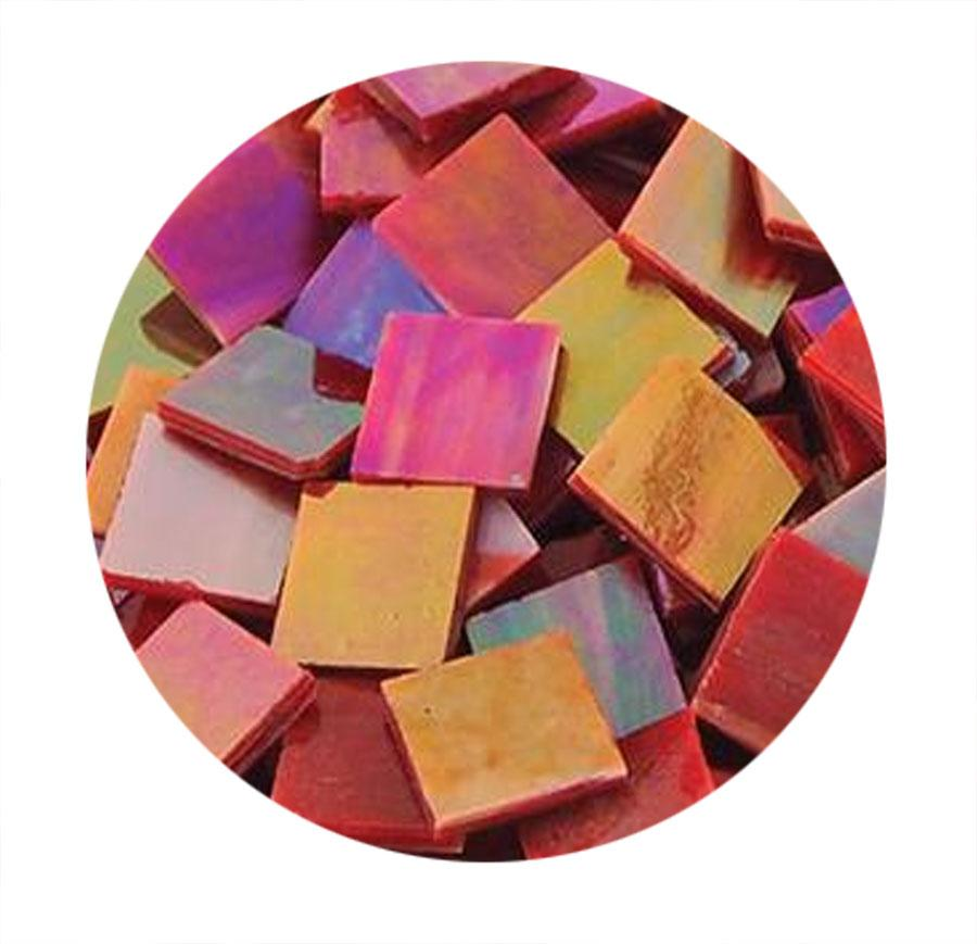 3/4 Red Opaque Iridized Stained Glass Chips - 48 Pieces