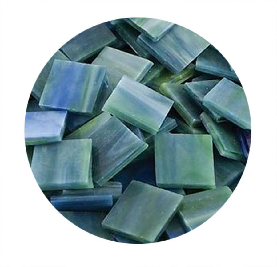 3/4 Teal Opaque Stained Glass Chips - 48 Pieces