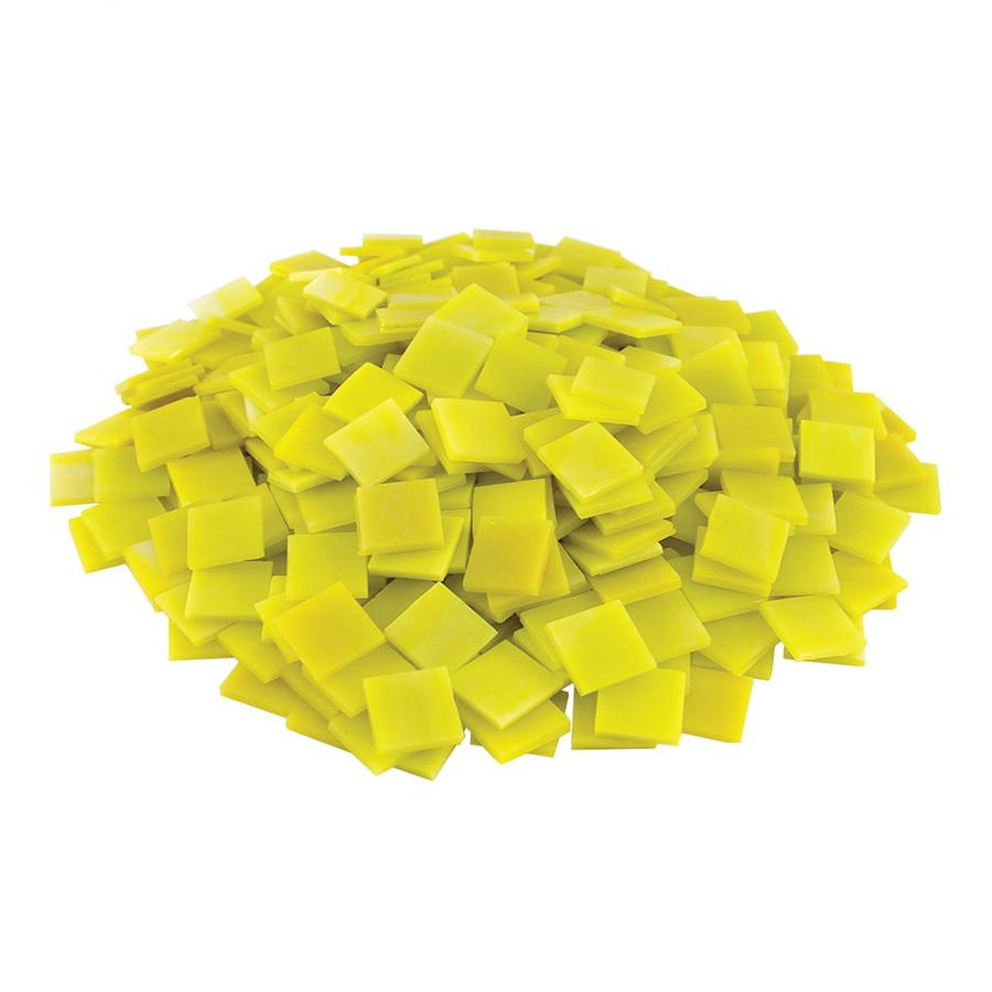 3/4 Yellow Opaque Stained Glass Chips - 480 Pieces