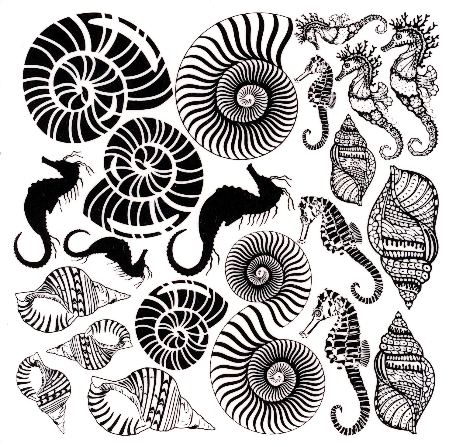 It is a graphic of Adaptable Free Printable Seashell Stencils