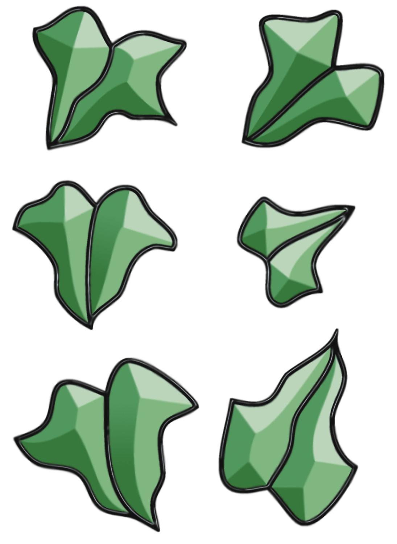 Green Ivy Leaves Bevel Cluster