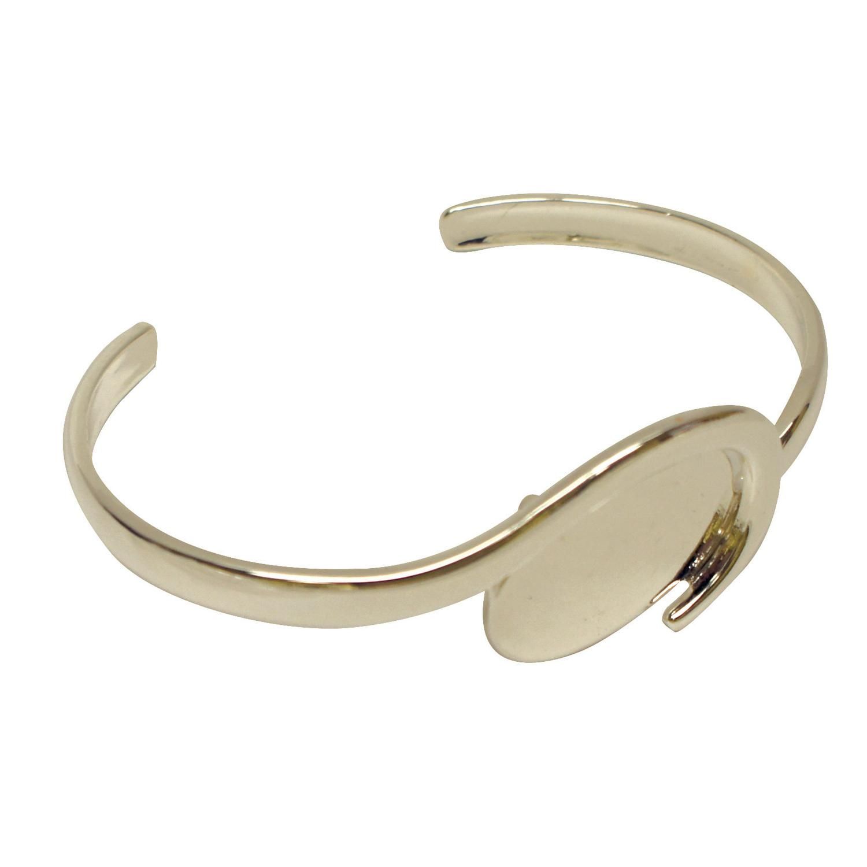 Silver Plated Oval Wave Cuff Bracelet Rings Delphi Glass