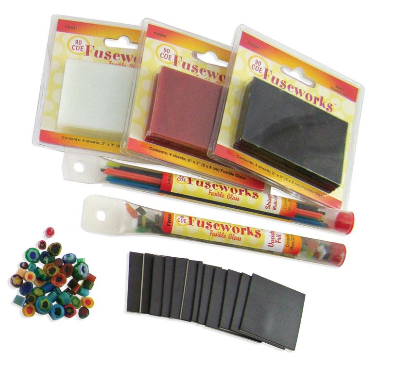 Fuseworks Funky Fused Glass Magnets Kit - 12 Pack