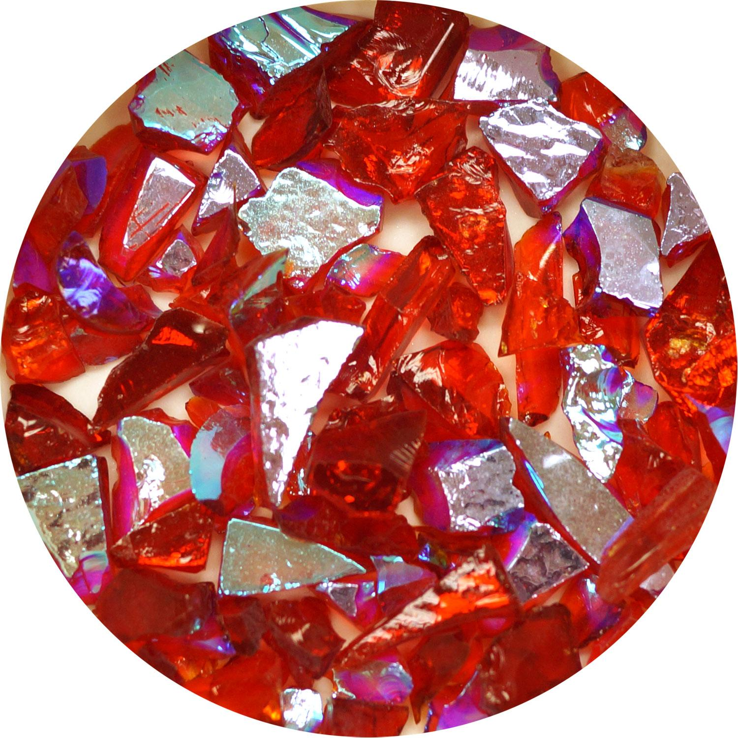 3 oz. Red/Cyan Dichroic Frit on Transparent Light Cherry Red - 96 COE