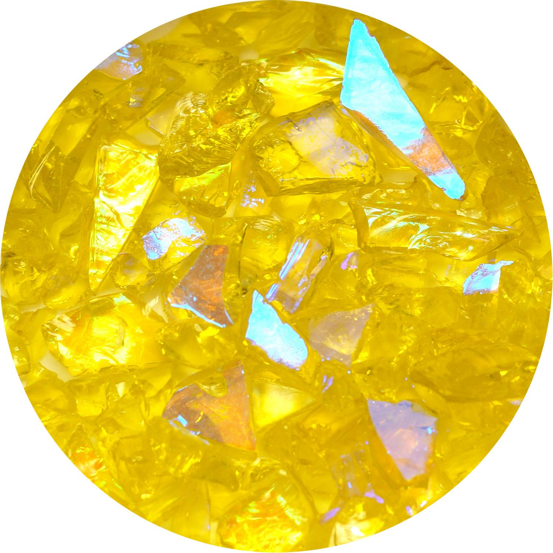 3 oz. Amber/Blue Dichroic Frit on Transparent Lemon Chiffon Yellow - 90 COE