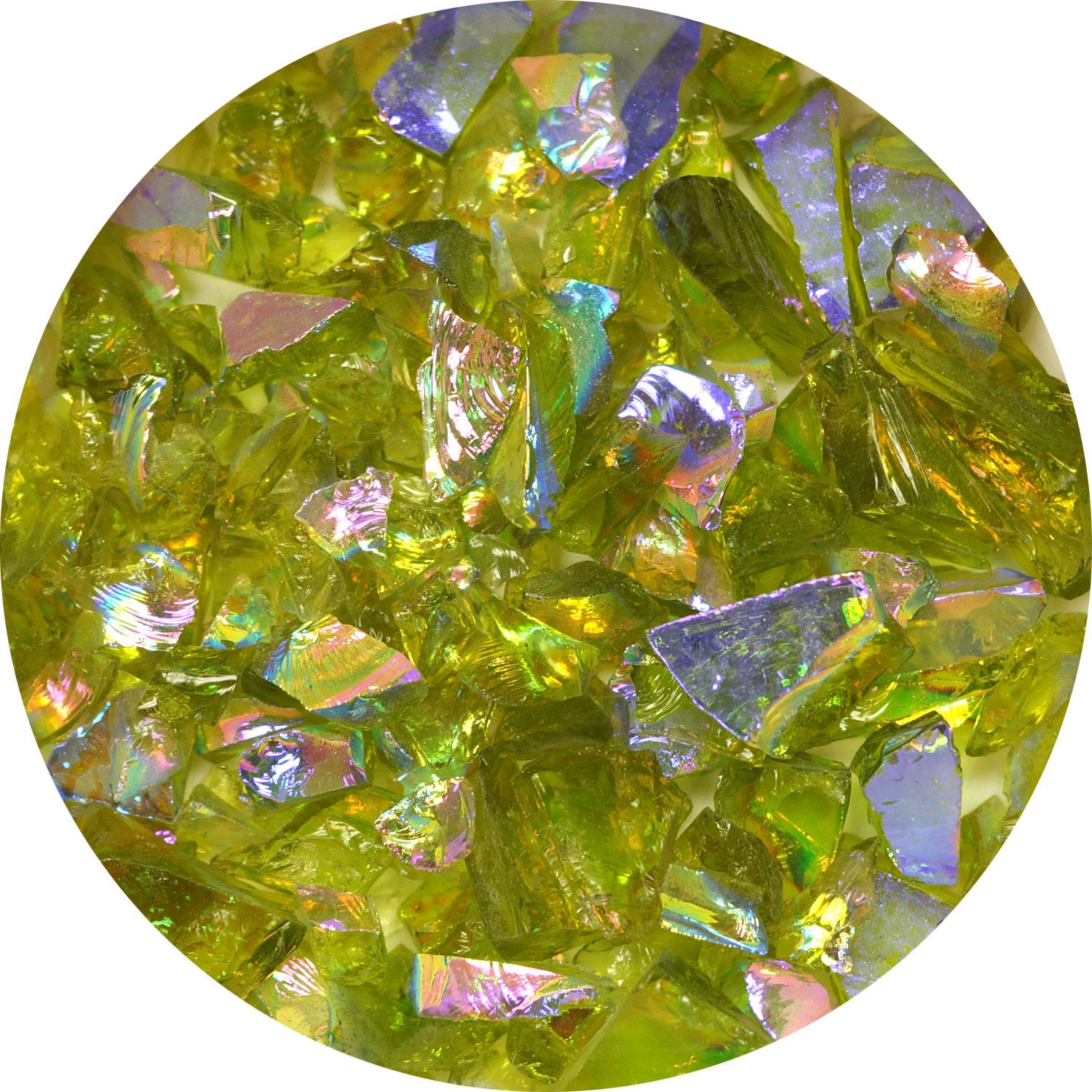 3 oz. Yellow Green/Magenta Dichroic Frit on Transparent Lime Green - 90 COE