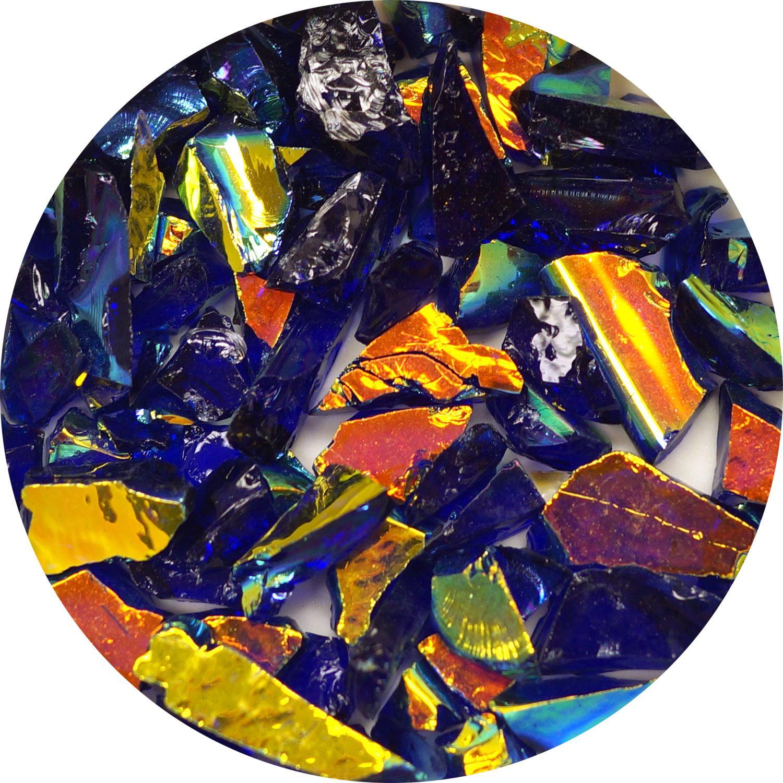 3 oz. Light Blue/Copper Dichroic Frit on Transparent Cobalt Blue - 90 COE