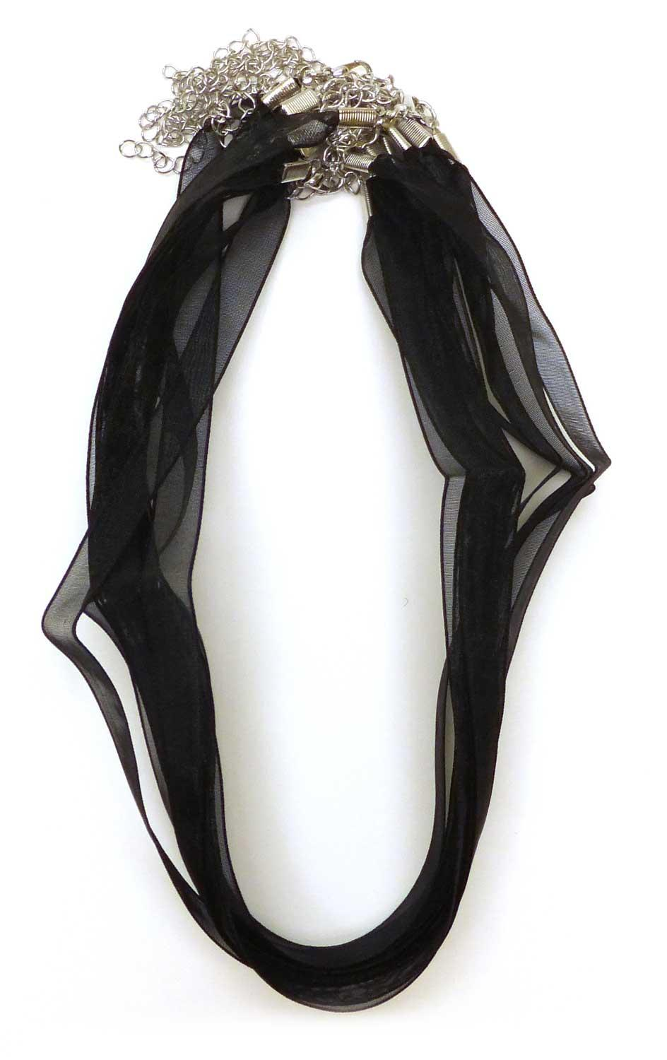 Sheer Ribbon Cord Black Necklace - 10 Pack