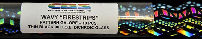 6mm Patterns Dichroic Firestrips on Black 10 Piece Assortment - 90 COE