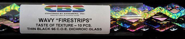 6mm Texture Dichroic Firestrips on Black 10 Piece Assortment - 96 COE
