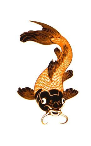 Large koi fish gold black decal for Black and gold koi fish