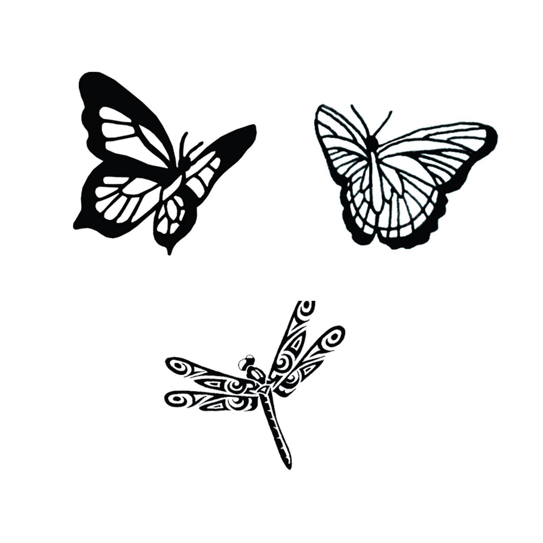 Butterflies & Dragonflies Black Enamel Decal Assortment