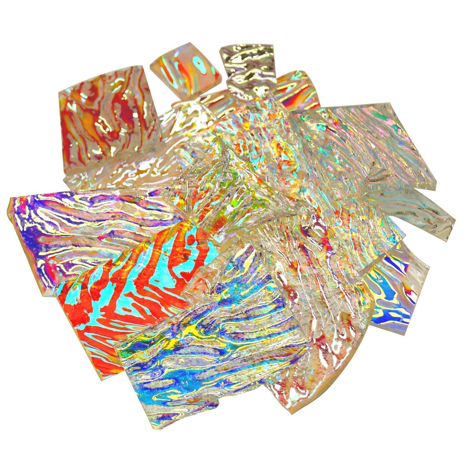 1/2 Lb Premium Dichroic Scrap On Uroboros Clear Herringbone Ripple - 90 COE