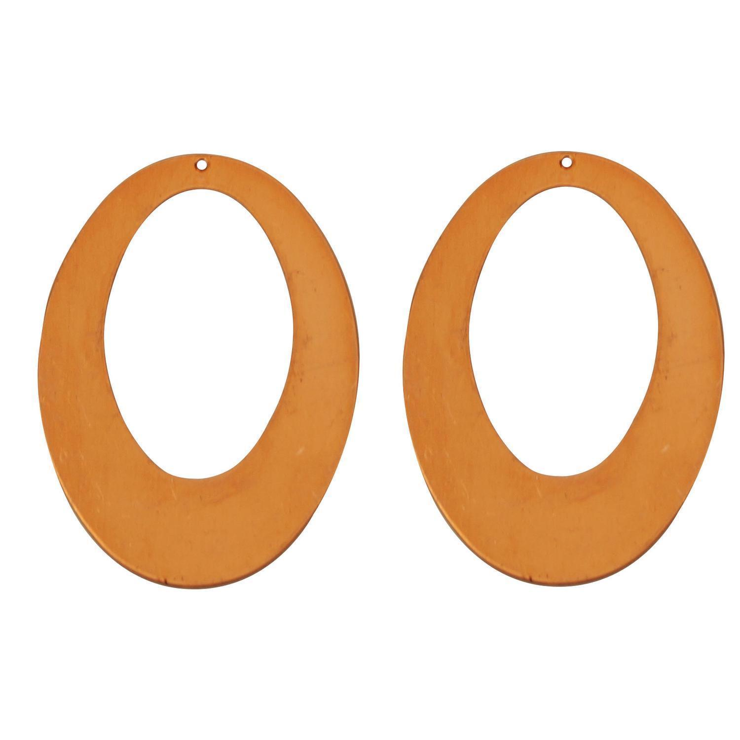 Oval Hoop Copper Shape With Hole - 2 Pack
