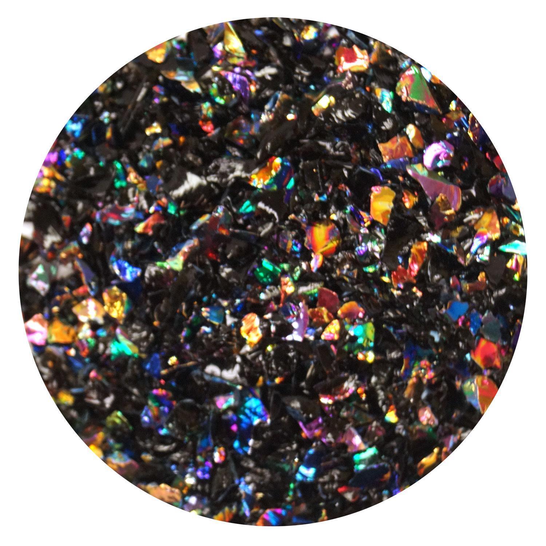 1 oz Rainbow Dichroic Medium Frit Flakes on Black - 96 COE