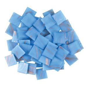3/4 Light Blue Gold Streaky Glass Tiles - 1 Lb