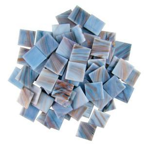 3/4 Sky Blue Gold Streaky Glass Tiles - 1 lb