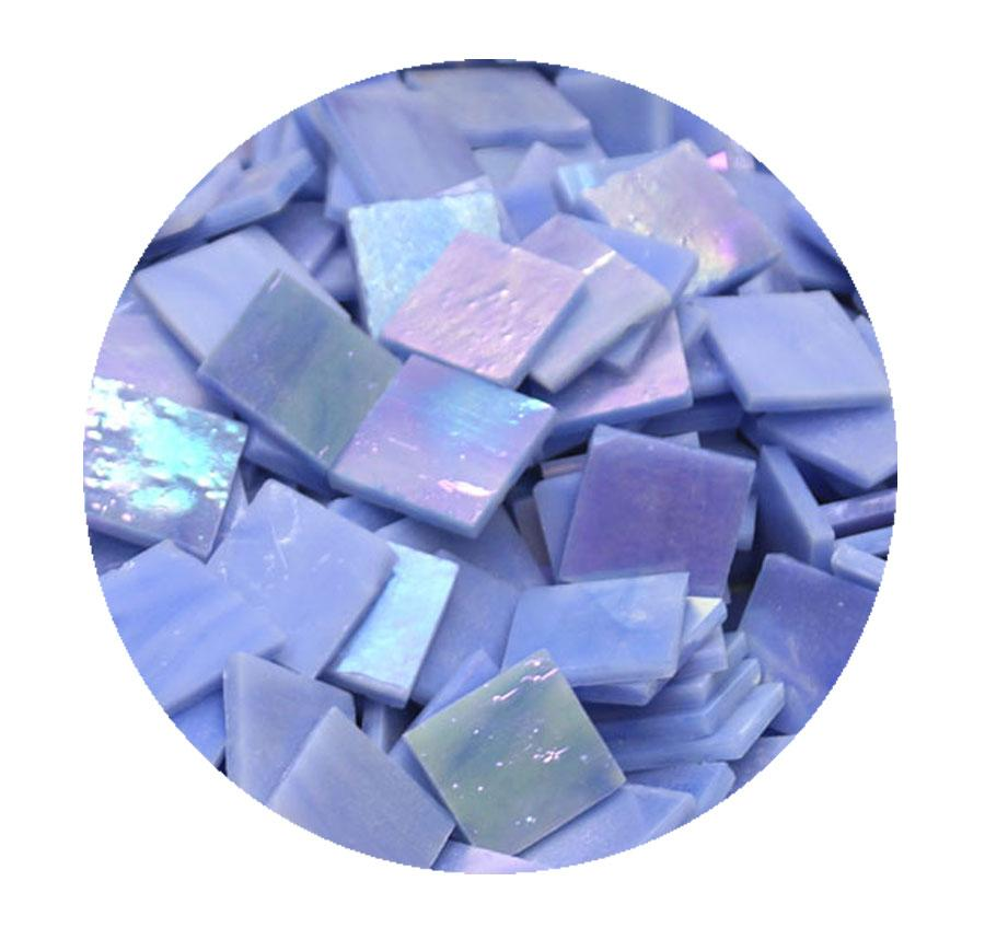 3/4 Blue Opaque Iridized Stained Glass Chips - 48 Pieces