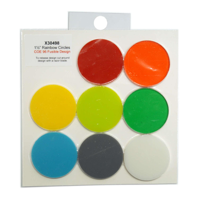 1-1/2 Circle Rainbow Assortment Fusible Pre-Cut 8 Pack - 96 COE