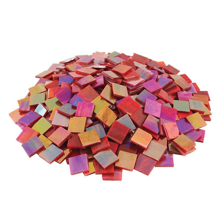 3/4 Red Opaque Iridized Stained Glass Chips - 80 Pieces
