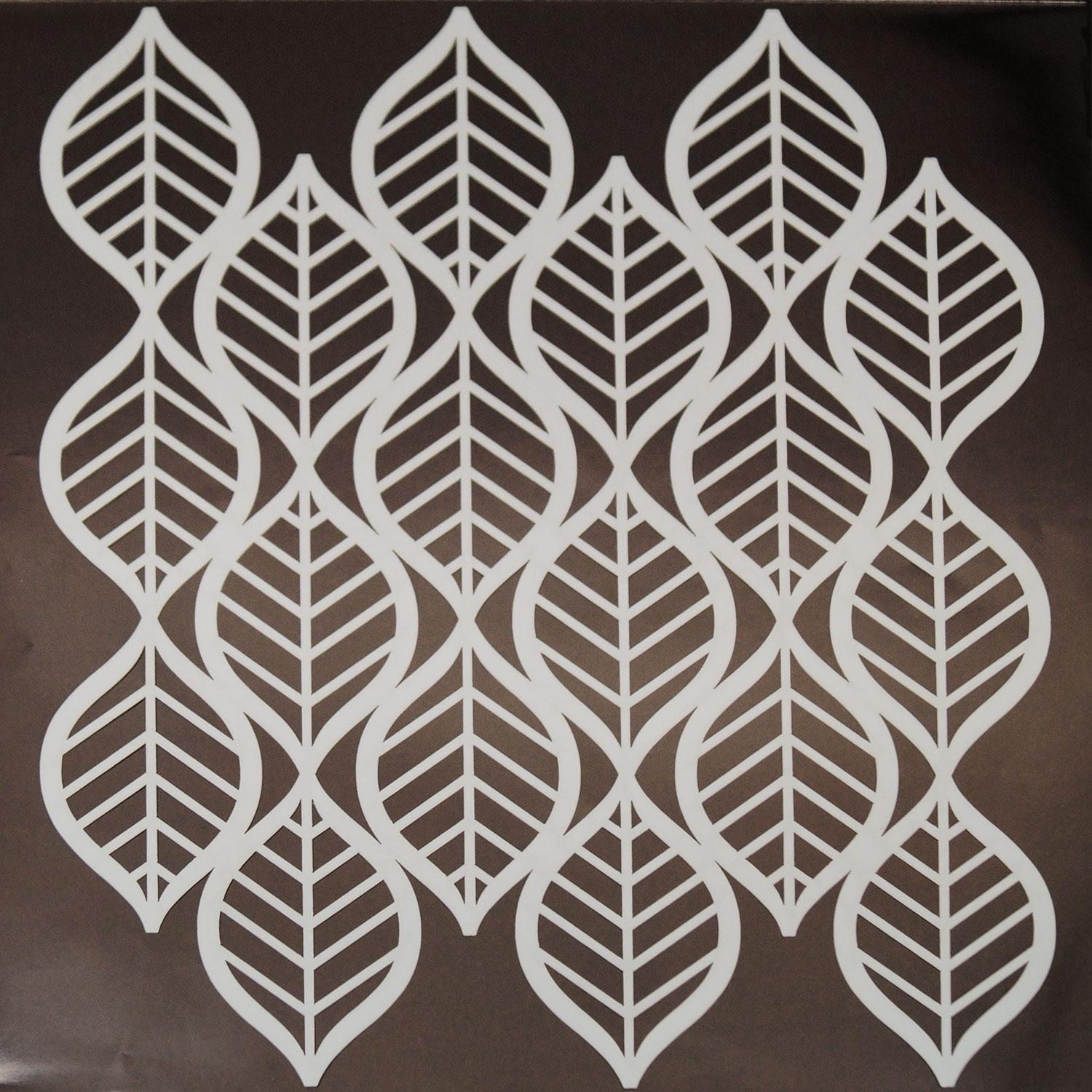 Art deco leaves pattern stencil glass delphi glass for Art deco patterns