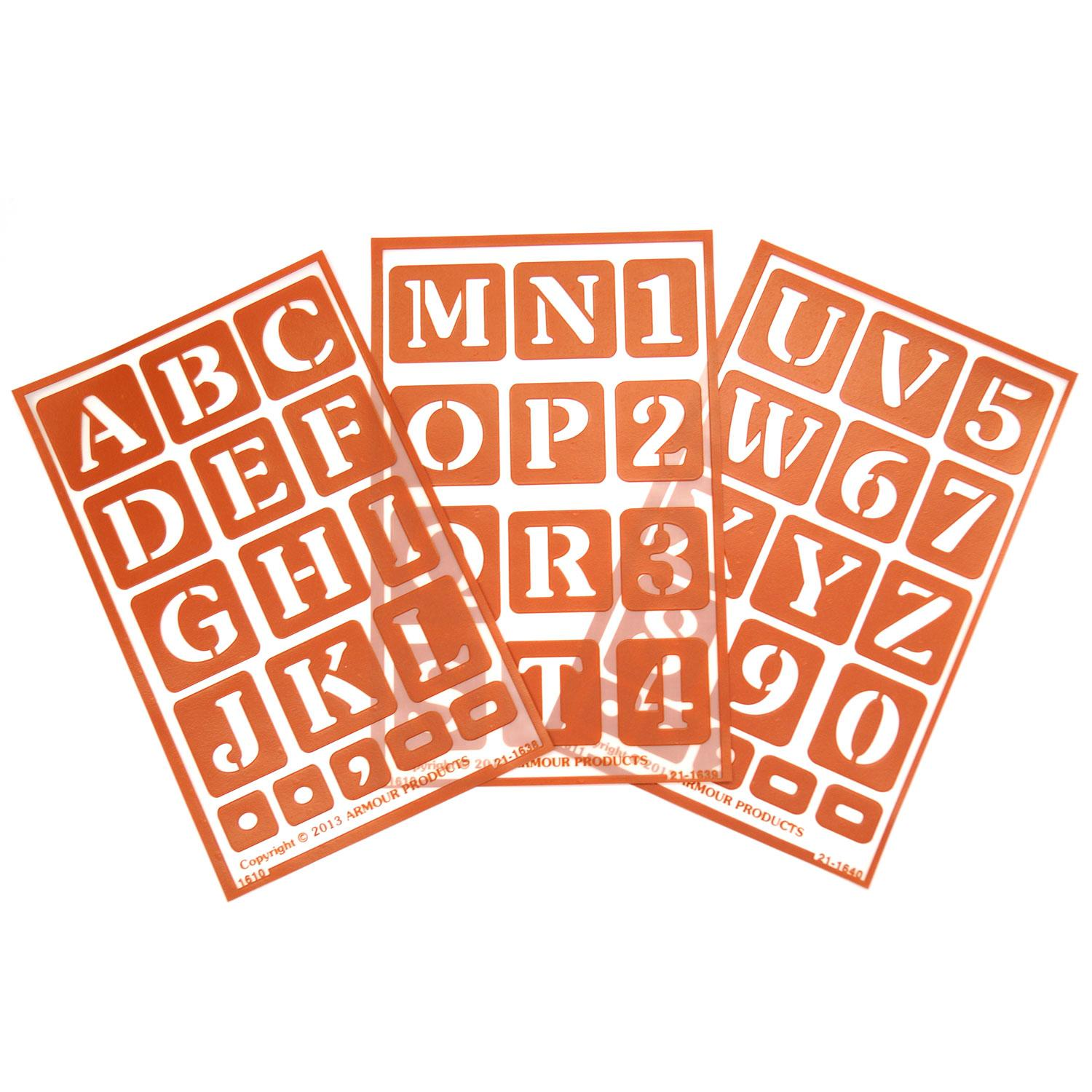 Over 'N' Over Alphabet and Numbers Stencils