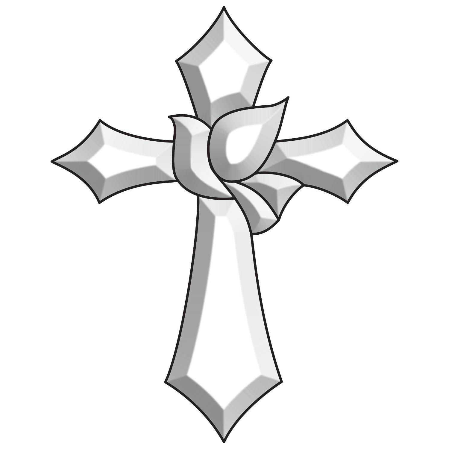 Cross And Dove Bevel Cluster