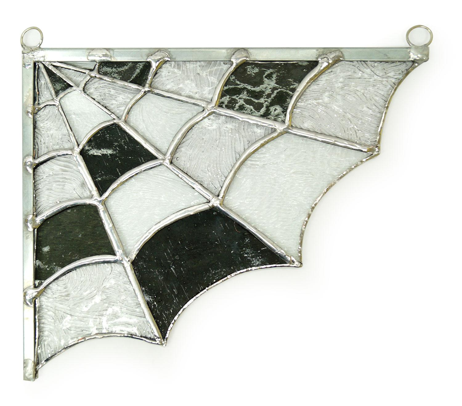 Free Stained Glass Spider Web Window Corner Pattern