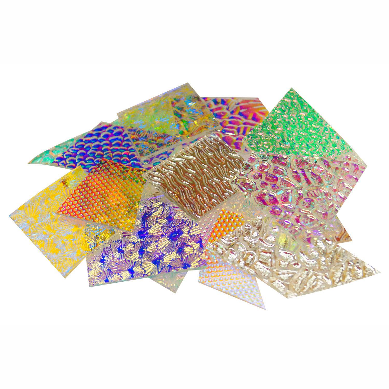 1 Lb CBS Wissmach Textures Dichroic Scrap On Clear - 90 COE