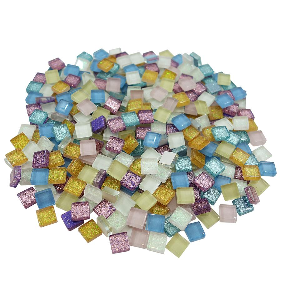 3/8 Square Cobblestone Lights Glass Gems - 1/2 lb