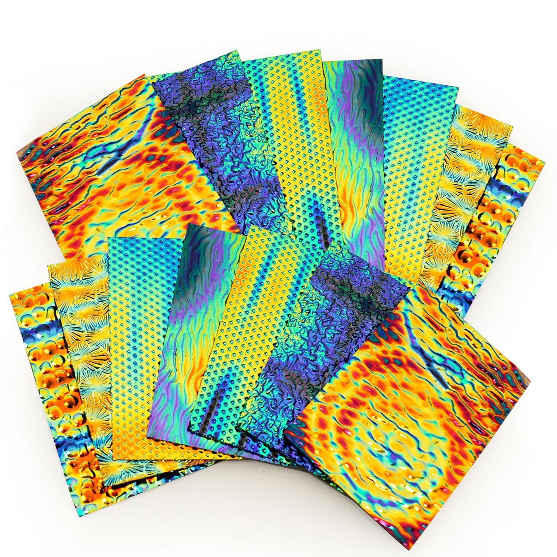 1 lb DichroMagic Tie Dye Dichroic Scrap on Wissmach Thin Black Textures - 96 COE