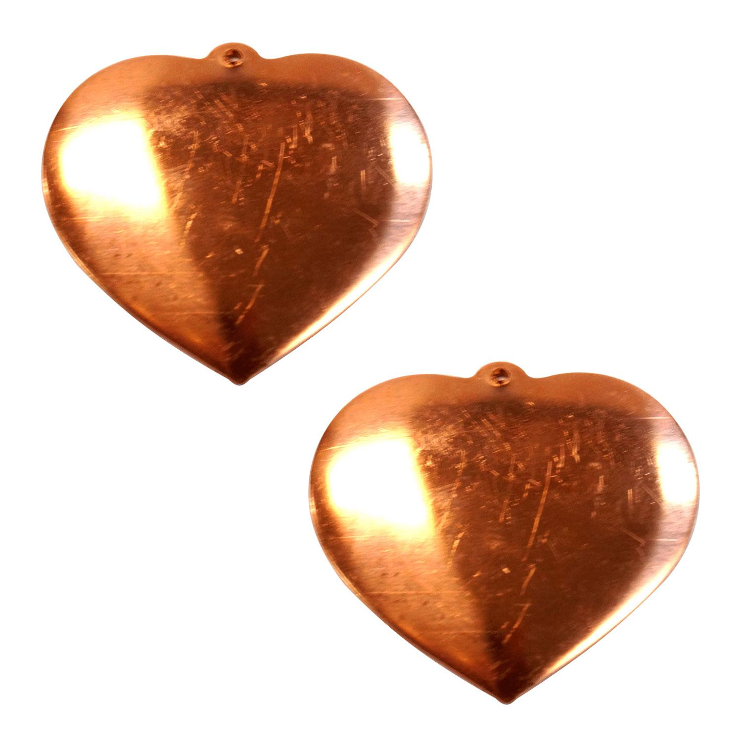 Solid Domed Heart Copper Shape - 2 Pack