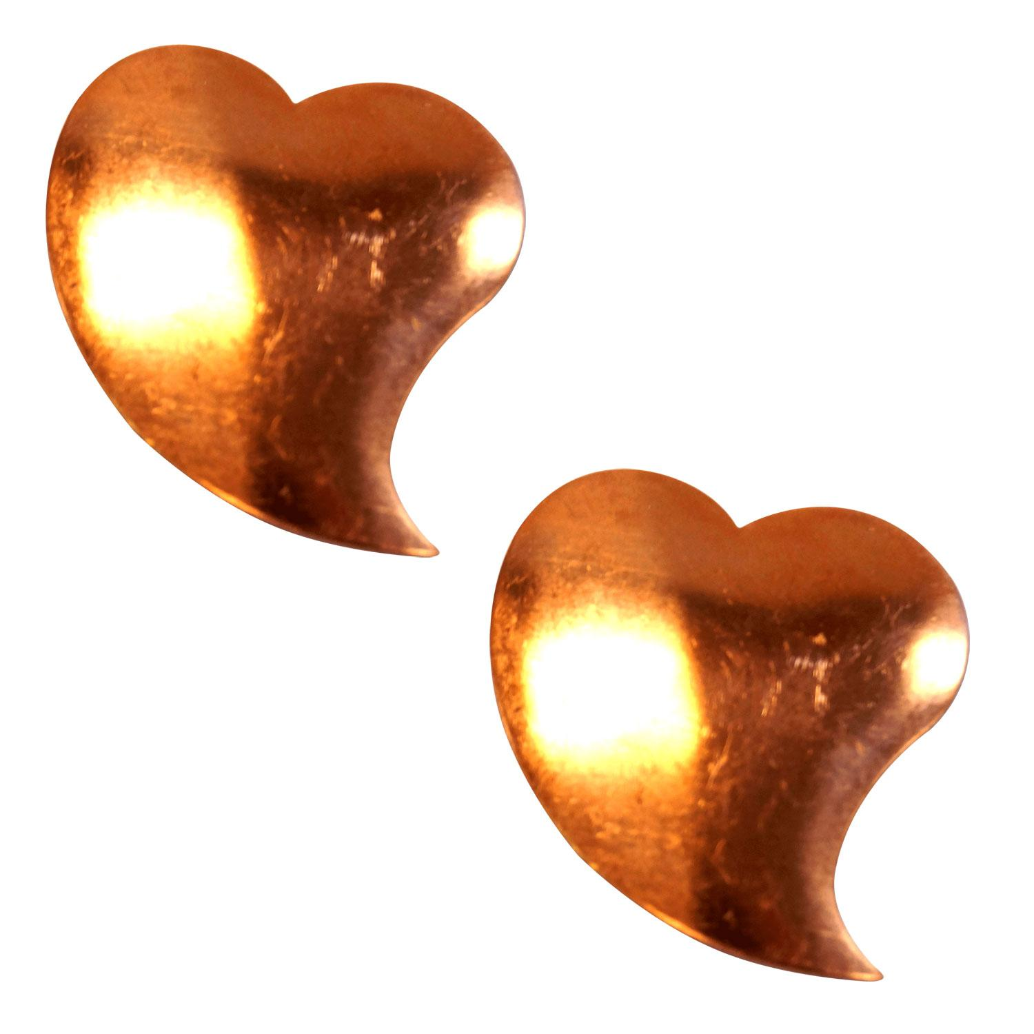 Domed Swooping Heart Copper Shape - 2 Pack