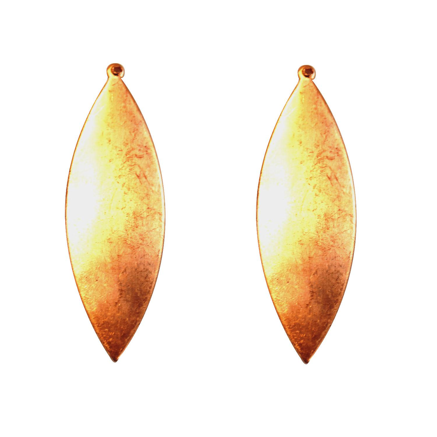 Domed Drop Leaf Copper Shape with Tab - 2 Pack