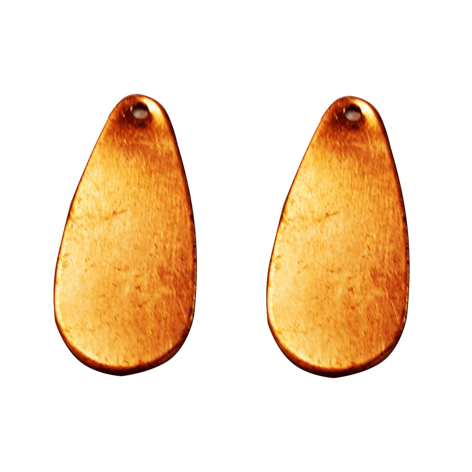 Teardrop Copper Shape with Hole - 2 Pack