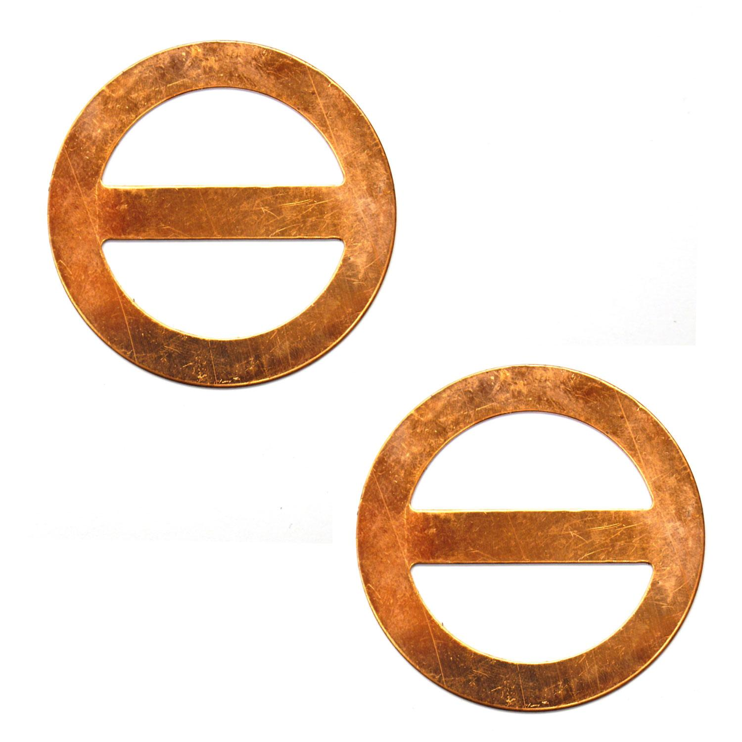 Large Round Scarf Buckle Copper Shape - 2 Pack
