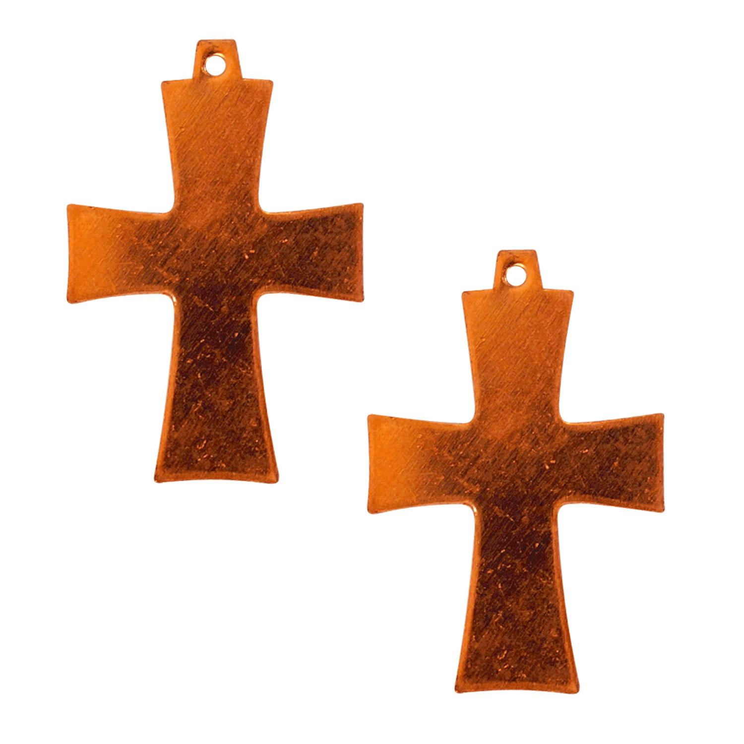 Ornate Cross Copper Shape with Tab - 2 Pack