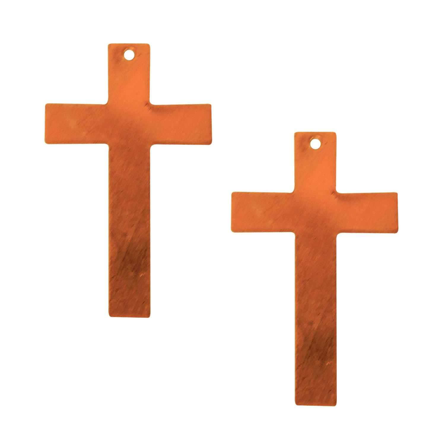 Cross Copper Shape with Hole - 2 Pack