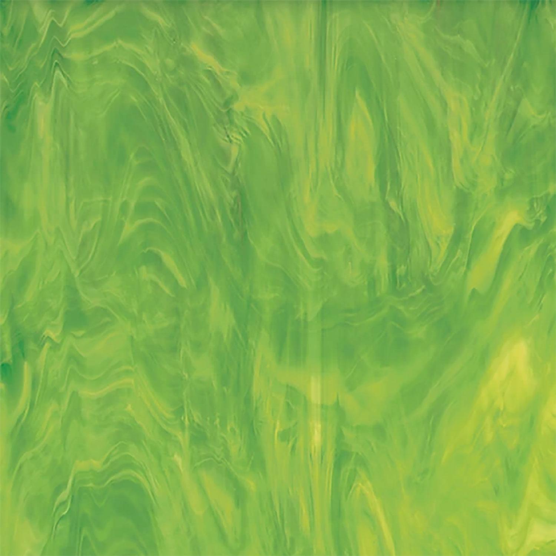 Oceanside Lime Green & White Translucent Streaky - 96 COE