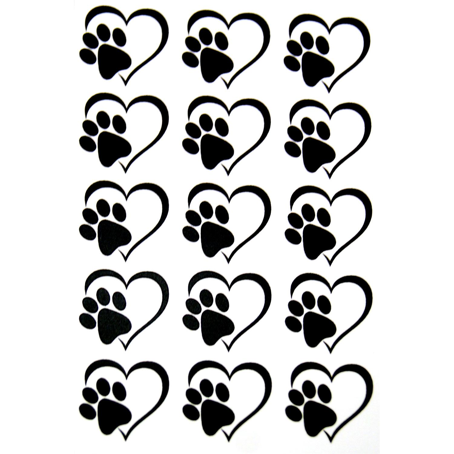 Heart Paw Print Black Enamel Decals