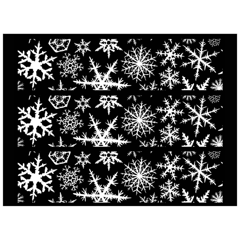Large Snowflake White Enamel Decals