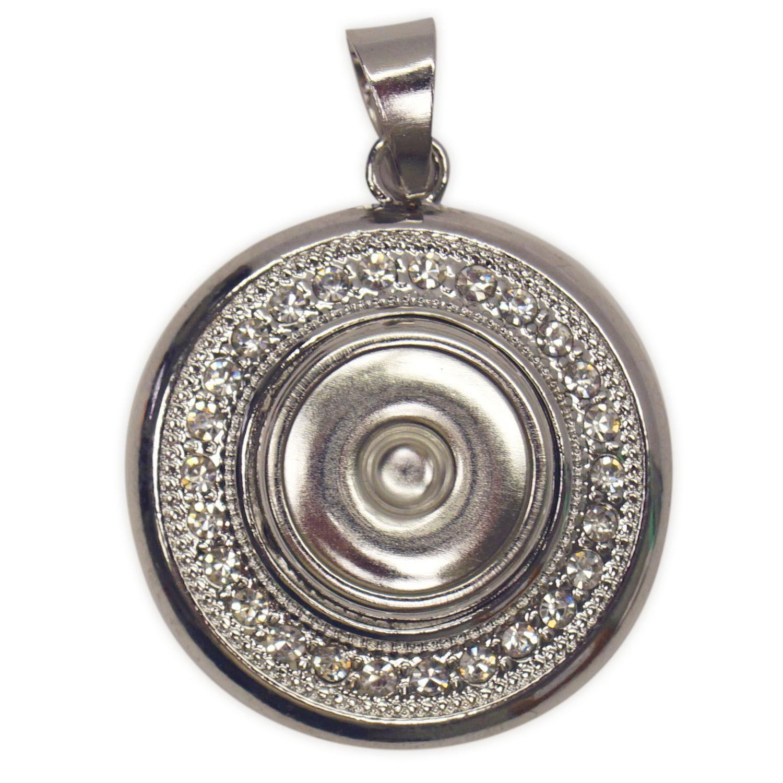 Round Wheel Snap with Rhinestones Pendant