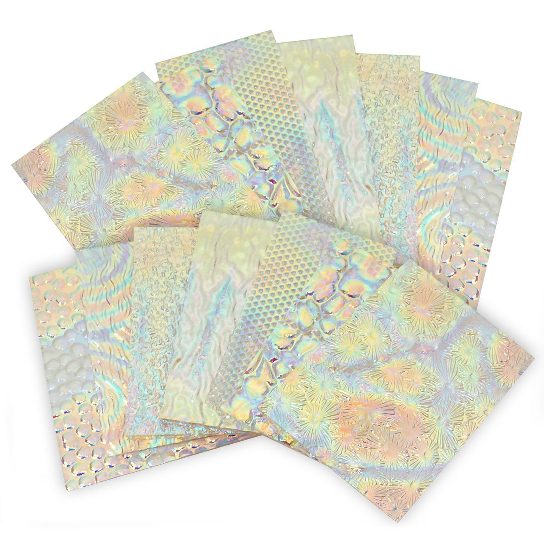 1 Lb DichroMagic Tie Dye on Wissmach Clear Thin Texture Scrap - 96 COE