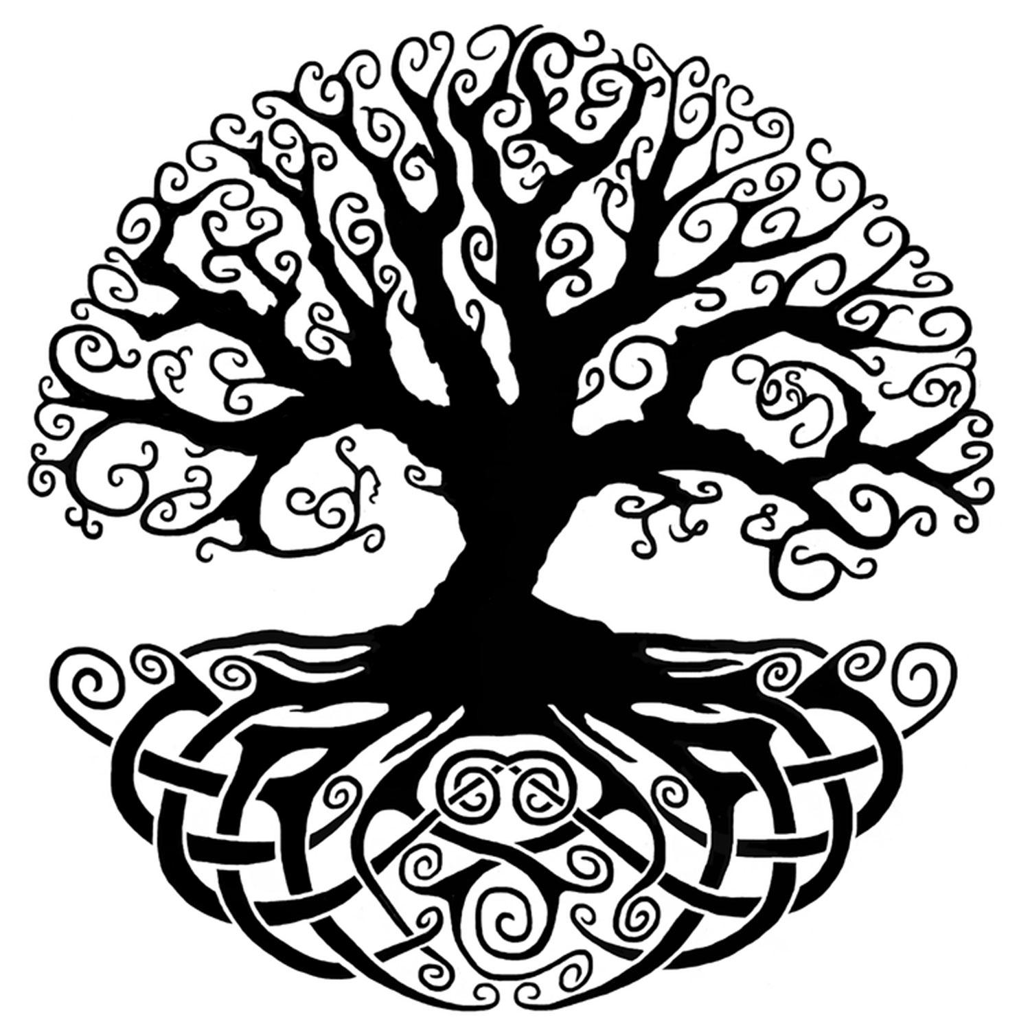 4 celtic knot tree of life black enamel decal
