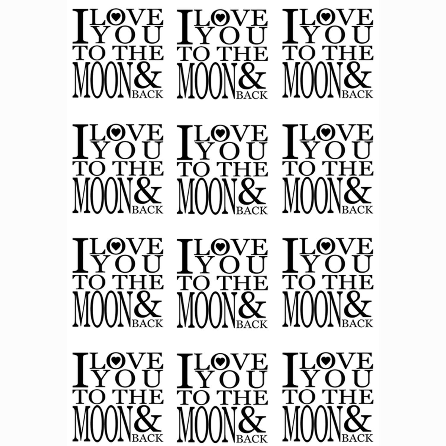 I Love You To The Moon Black Enamel Decals