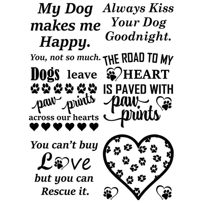 Dogs leave paw prints black enamel decals white delphi glass