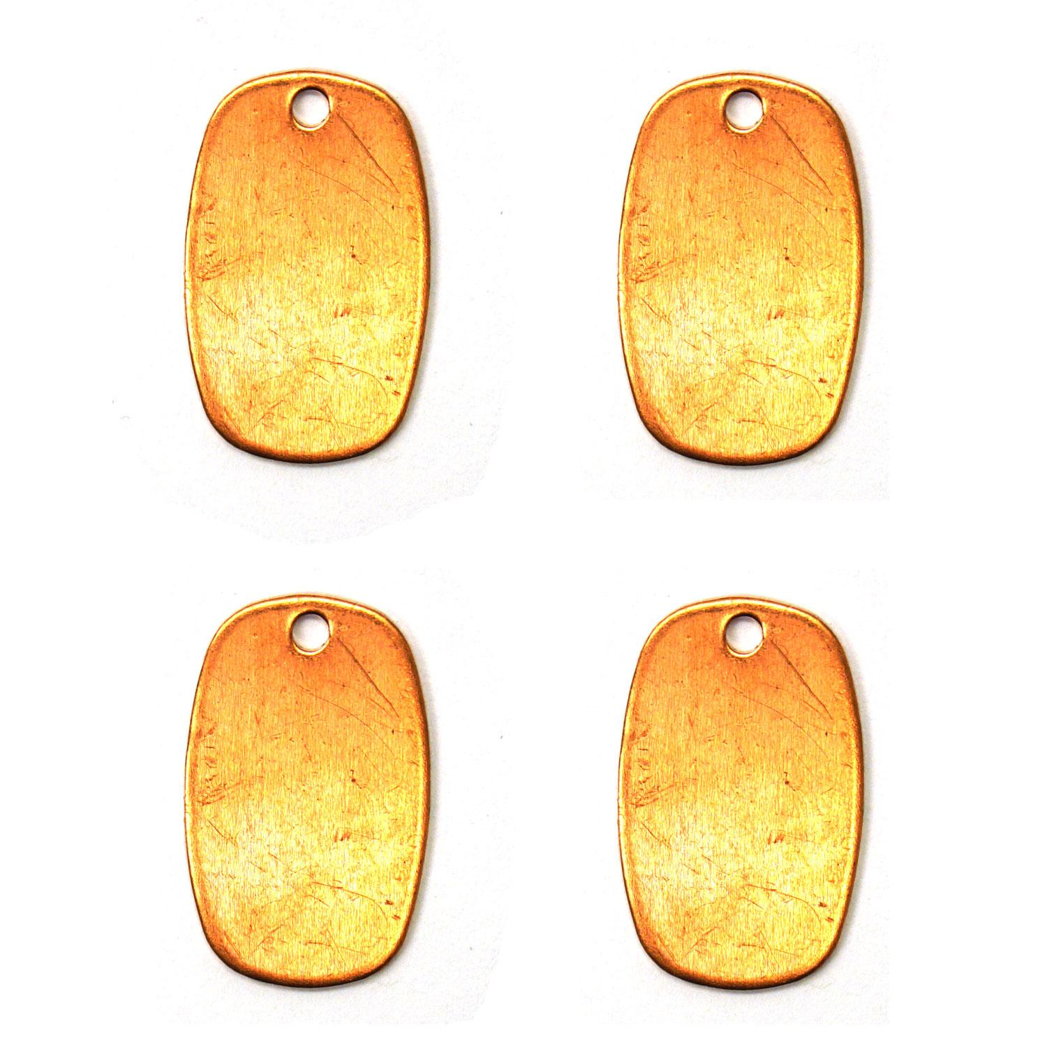 Small Rounded Rectangle Copper Shape with Hole - 4 Pack