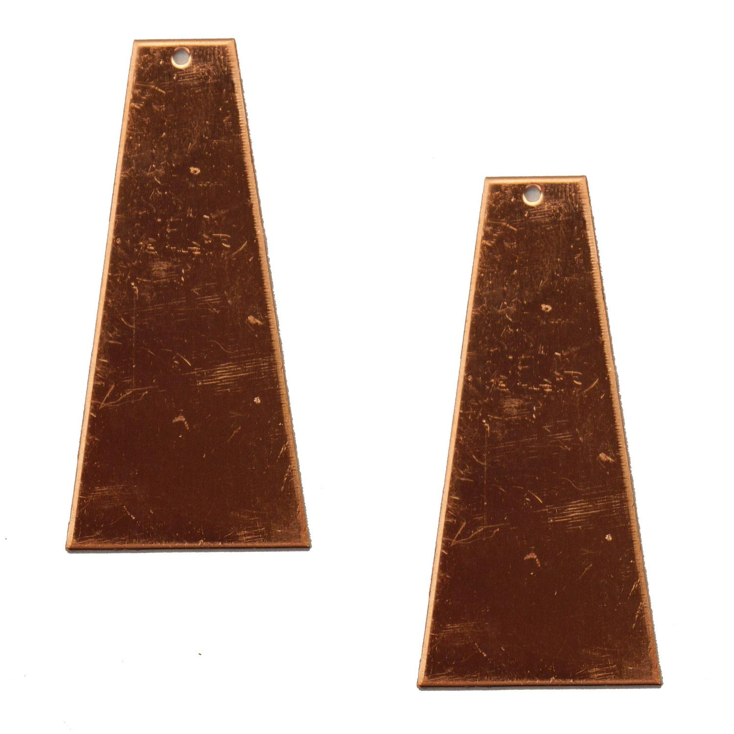 Trapezoid Copper Shape with Hole - 2 Pack