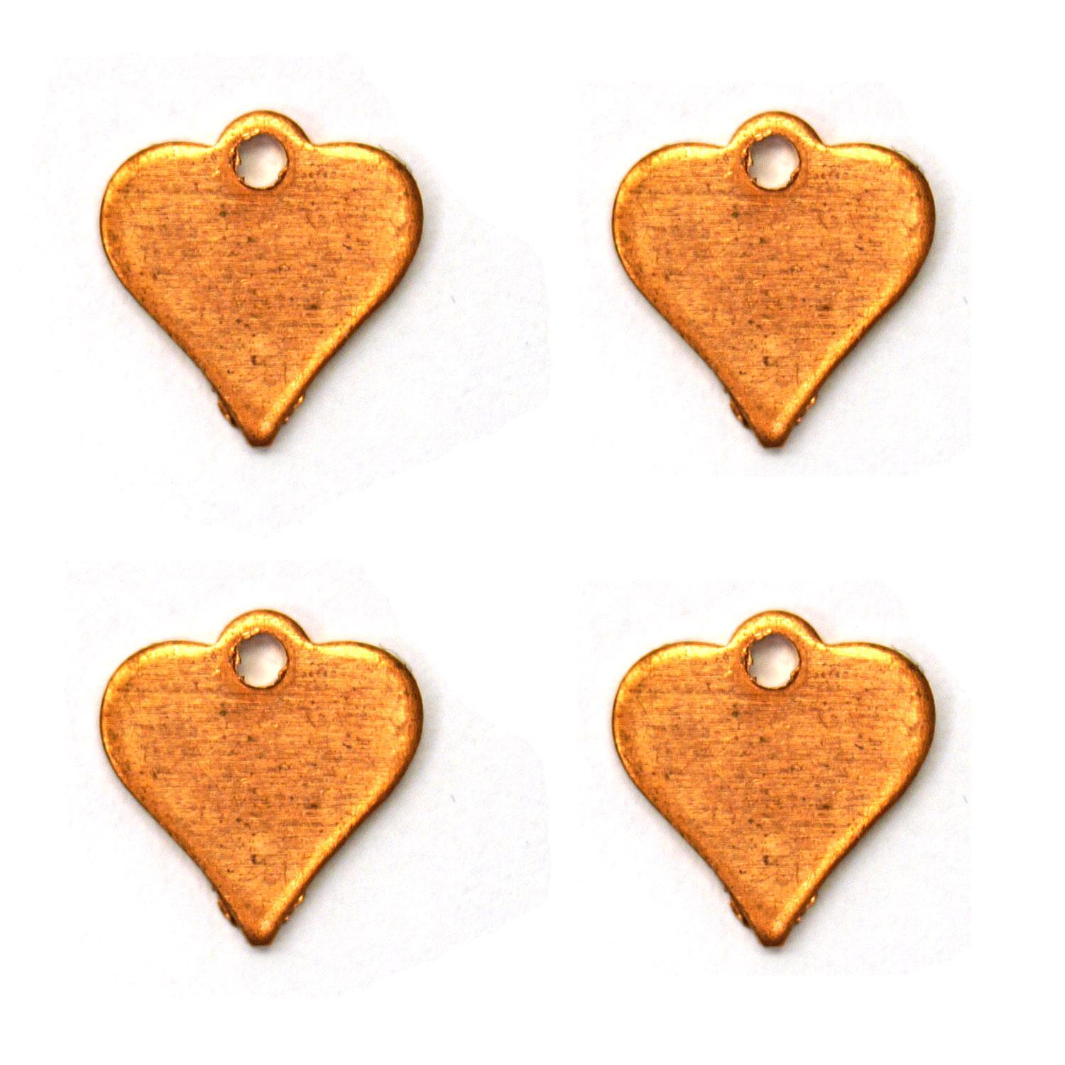 Small Heart Copper Shape with Tab - 4 Pack
